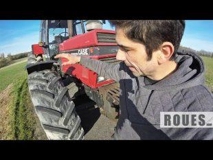 Démontage en atelier des pneus avant du tracteur – 2019